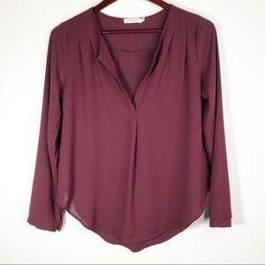 Lush | Burgundy Split Neck Button Sleeve Blouse XS